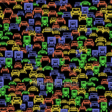 Colored Car Silhouette Seamless Pattern On Black Background Stock Photo