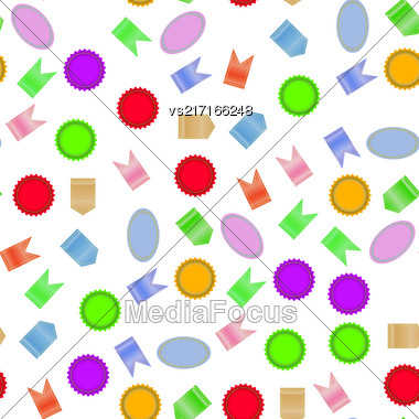 Colored Different Stickers Seamless Pattern Isolated On White Background Stock Photo