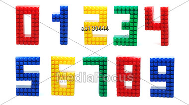 Colored Digits Set Made Of Plastic Toy Blocks (Lego) Stock Photo