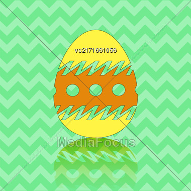 Colored Easter Egg Silhouette Isolated On Green Zigzag Background Stock Photo