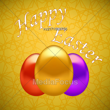Colored Easter Eggs On Yellow Ornamental Geometric Background Stock Photo