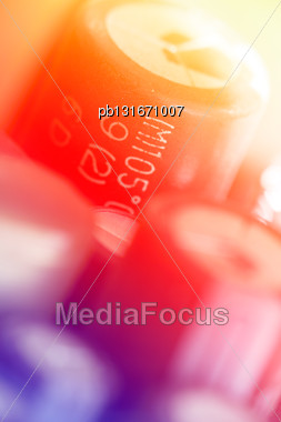 Colored Electronic Components (capasitors), Shallow Depth Of Field Stock Photo
