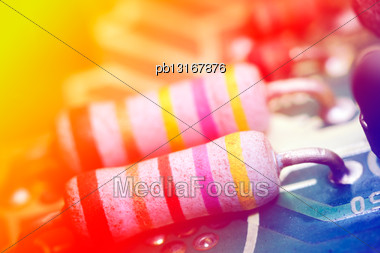 Colored Electronic Components, Shallow Depth Of Field Stock Photo