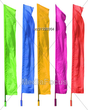 Colored Flags Are Isolated On A White Background Stock Photo