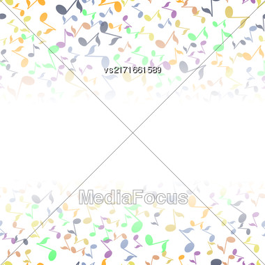 Colored Musical Notes Pattern On White Background Stock Photo