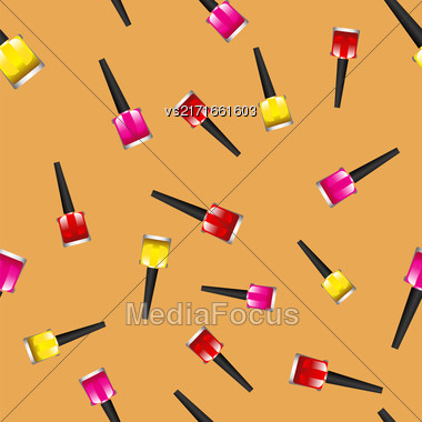 Colored Nail Polsh Seamless Pattern On Orange Background Stock Photo