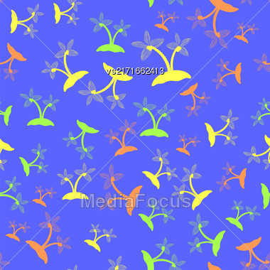 Colored Palm Seamless Pattern Isolated On Blue Background Stock Photo