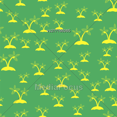 Colored Palm Seamless Pattern Isolated On Green Background Stock Photo