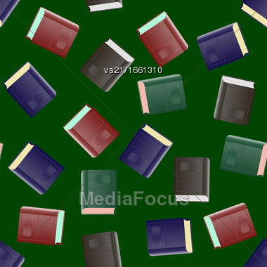 Colored Paper Book Seamless Pattern On Green Background Stock Photo
