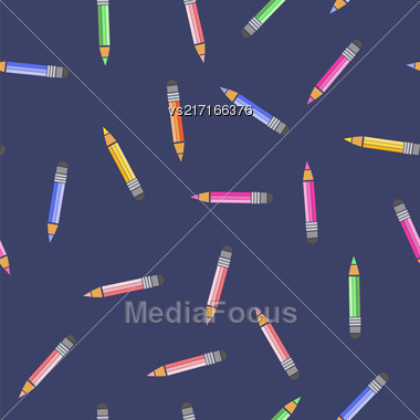 Colored Pencils Seamless Pattern On Blue Background Stock Photo