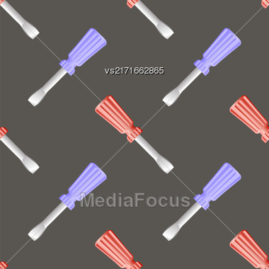 Colored Screwdriver Seamless Pattern On Grey Background Stock Photo