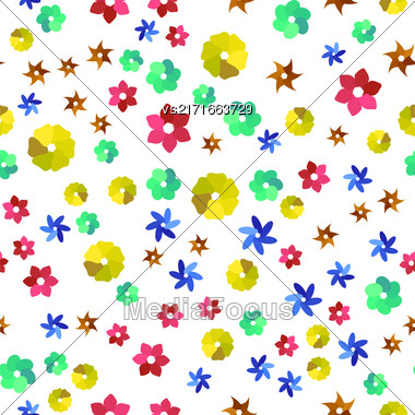 Colored Seamless Pattern. Colorful Different Shapes Background Stock Photo