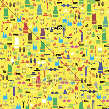 Colored Silhouettes Of Different Clothes Isolated On Yellow Background. Seamless Pattern Stock Photo