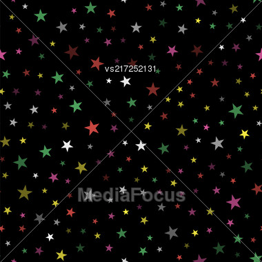 Colored Star Seamless Pattern Isolated On Black Background Stock Photo