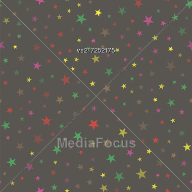 Colored Star Seamless Pattern Isolated On Grey Background Stock Photo