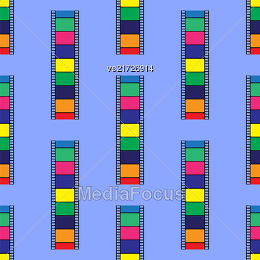 Colored Stripe Seamless Pattern Isolated On Blue Background Stock Photo