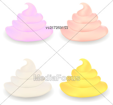 Colored Sweet Cream Set Isolated On White Background Stock Photo