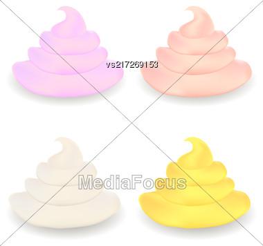 Colored Sweet Cream Set Isolated On White Background Stock Photo