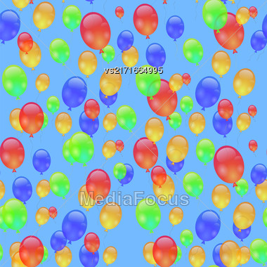 Colorful Air Balloons Seamless Pattern Isolated On Blue Stock Photo