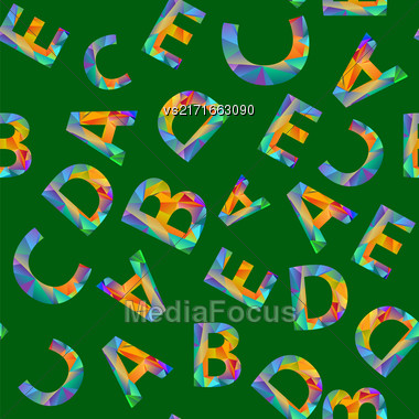 Colorful Alphabet Seamless Pattern. Set Of Colored Letters On Green Stock Photo