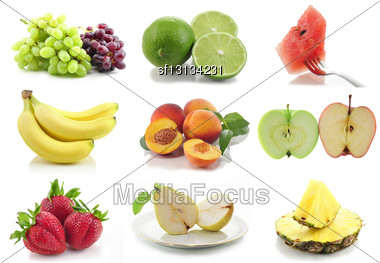 Colorful Assorted Fruits Collage Stock Photo