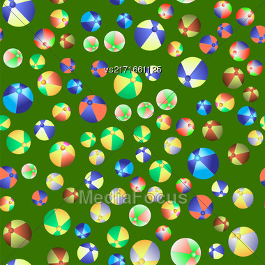 Colorful Beach Balls Seamless Pattern On Green Background Stock Photo