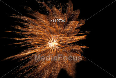 Colorful Bright Fireworks On The Black Background Stock Photo