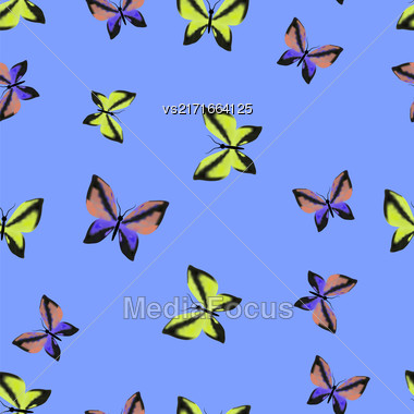 Colorful Butterflies Seamless Summer Pattern On Blue Sky Background Stock Photo