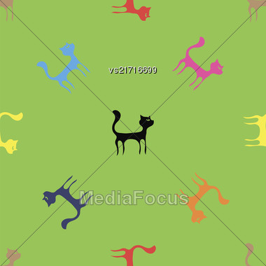 Colorful Cats Seamless Pattern. Animal Pets Silhouettes Background Stock Photo