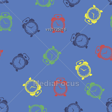 Colorful Clock Icon Seamless Pattern Isolated On Blue Background Stock Photo