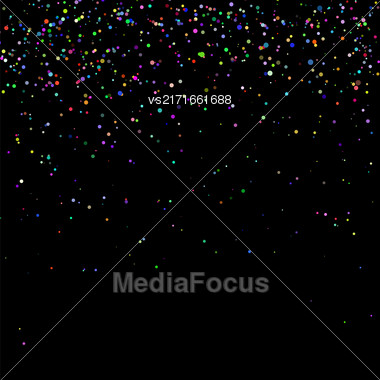 Colorful Confetti Isolated On Black Background. Abstract Colored Parts Stock Photo