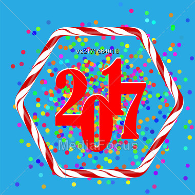 Colorful Confetti Christmas Background. 20167 New Year Pattern In Sweet Candy Cane Frame Stock Photo