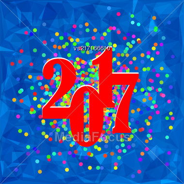 Colorful Confetti Christmas Banner. 2017 New Year Poster On Blue Polygonal Crystal Winter Background Stock Photo