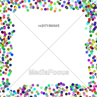 Colorful Confetti Frame On White Background. Paper Frame Stock Photo