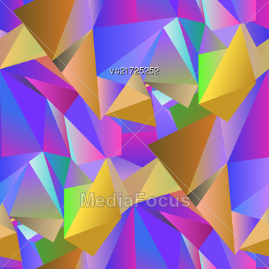 Colorful Crystal Seamless Pattern. Low Polygonal Design Stock Photo
