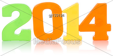 Colorful Digits Shows Year 2014, Isolated On White Background Stock Photo