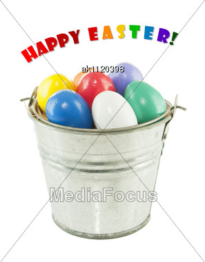 Colorful Easter Eggs In A Bucket Stock Photo