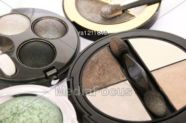 Colorful Eye Shadows Closeup Picture. Stock Photo