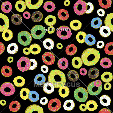 Colorful Fresh Sweet Donuts Seamless Pattern On Black Background. Delicios Tasty Glazed Donut. Cream Yummy Cookie Stock Photo