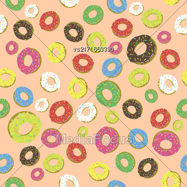 Colorful Fresh Sweet Donuts Seamless Pattern On Orange Background. Delicios Tasty Glazed Donut. Cream Yummy Cookie Stock Photo
