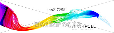 Colorful Gradient Wave Of Rainbow Color On A White Background. Vector Illustration Stock Photo
