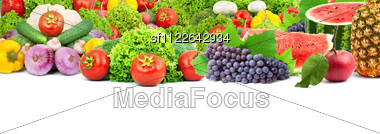Colorful Healthy Fresh Fruits And Vegetables. Shot In A Studio Stock Photo