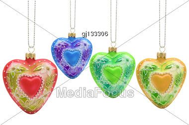 Colorful Heart Shaped Christmas Baubles, Isolated On White Background Stock Photo