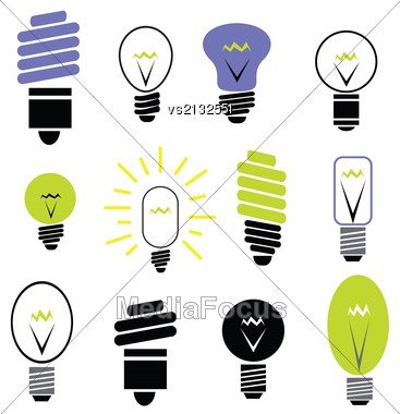 Colorful Illustration With Bulbs For Your Design Stock Photo