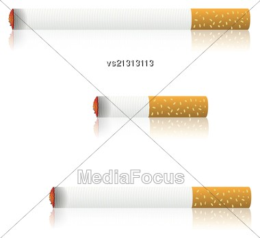 Colorful Illustration With Burning Cigarettes For Your Design Stock Photo