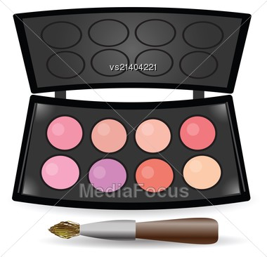 Colorful Illustration With Eyeshadow Palette For Your Design Stock Photo