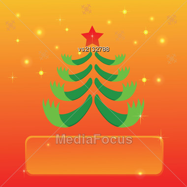 Colorful Illustration Greeting With Christmas Tree For Your Design Stock Photo