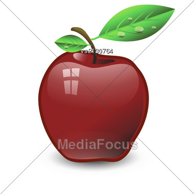Colorful Illustration With Red Apple For Your Design Stock Photo