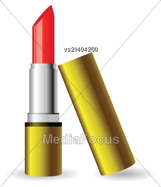 Colorful Illustration With Red Lipstick For Your Design Stock Photo
