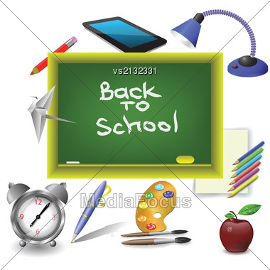 Colorful Illustration With School Green Desk For Your Design Stock Photo